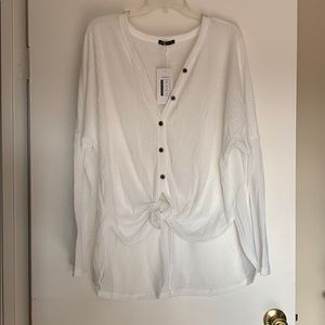 White long sleeve tie shirt